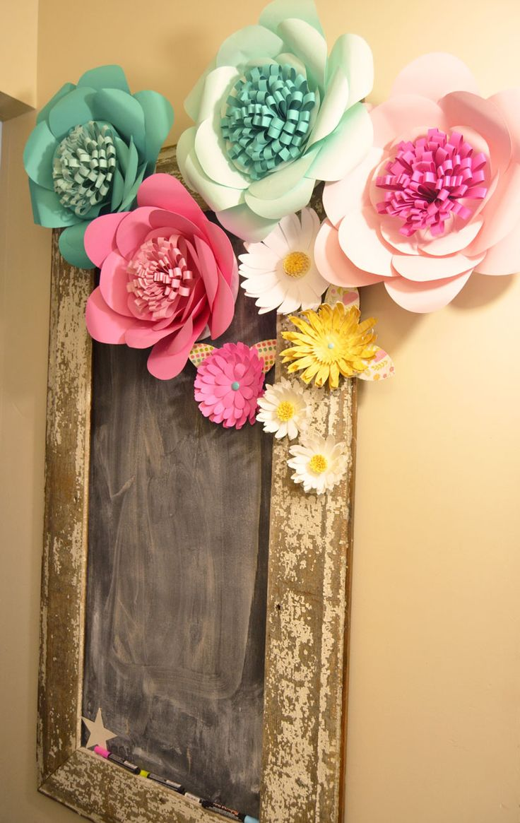 Chalkboard adorned with pretty paper flowers, supposed to have cutting files but I could not see them