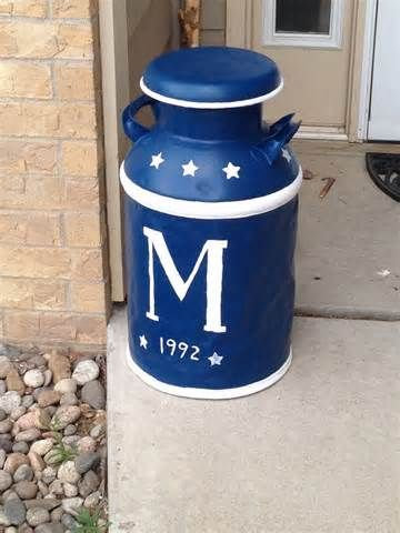 painted milk cans