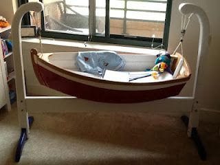 Rock your baby to sleep in this amazing ship cradle... #Nautical #Nutz :) Would look great with our Nautical Piggy Bank.