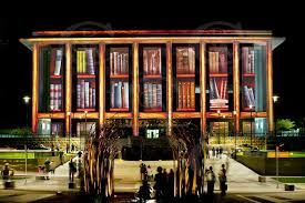 Our Nation's Library, up-lit with books!  The annual 'Enlighten' festival at the National Library of Australia.