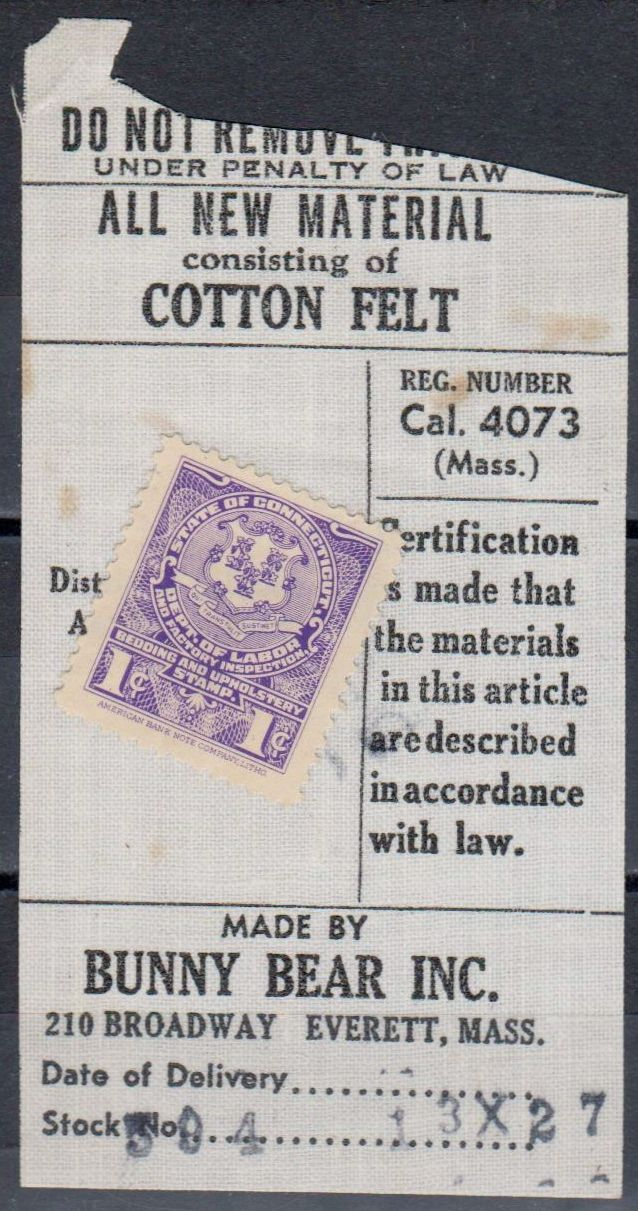 "Bedding U.S. Revenue stamp from the State of Connecticut ""Department of Labor and Factory Inspector."""
