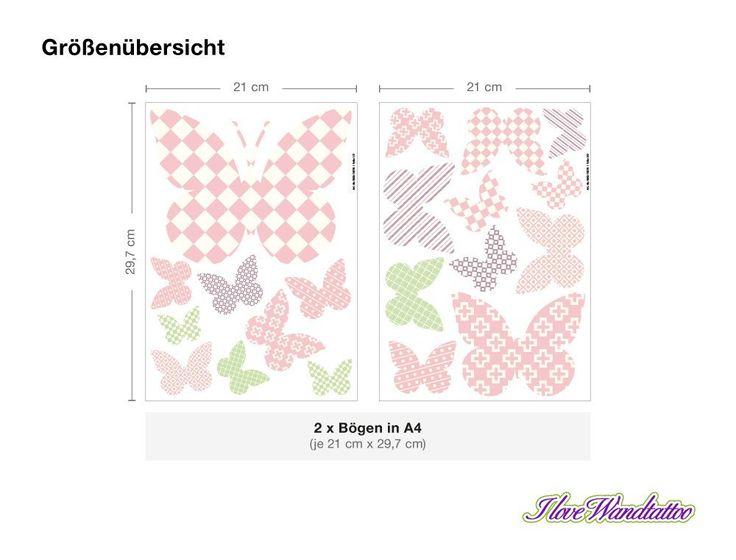 """I-love-Wandtattoo WAS-10078 Kinderzimmer Wandsticker Set A4 """"Schmetterlinge mit Muster für Mädchen"""" 20 Stück zum Kleben Wandtattoo Wandaufkleber Sticker Wanddeko: Amazon.de: Küche & Haushalt"""