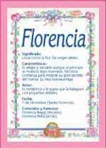 Florencia - Nombres, El significado de los nombres, Tu nombre, Tarjetas postales TuParada.com