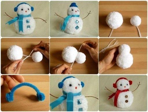 how to make make pom poms animals   DIY Pom Pom SNowmen Pictures, Photos, and Images for Facebook, Tumblr ...