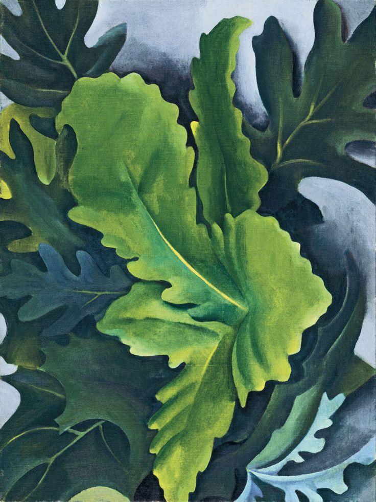 Georgia O'Keeffe- Leaves, oil, 1923 O'Keeffe at Lake George