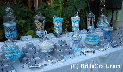 "Blue, blue and more blue! Love the candy ""boxes"" idea too, instead of favors"