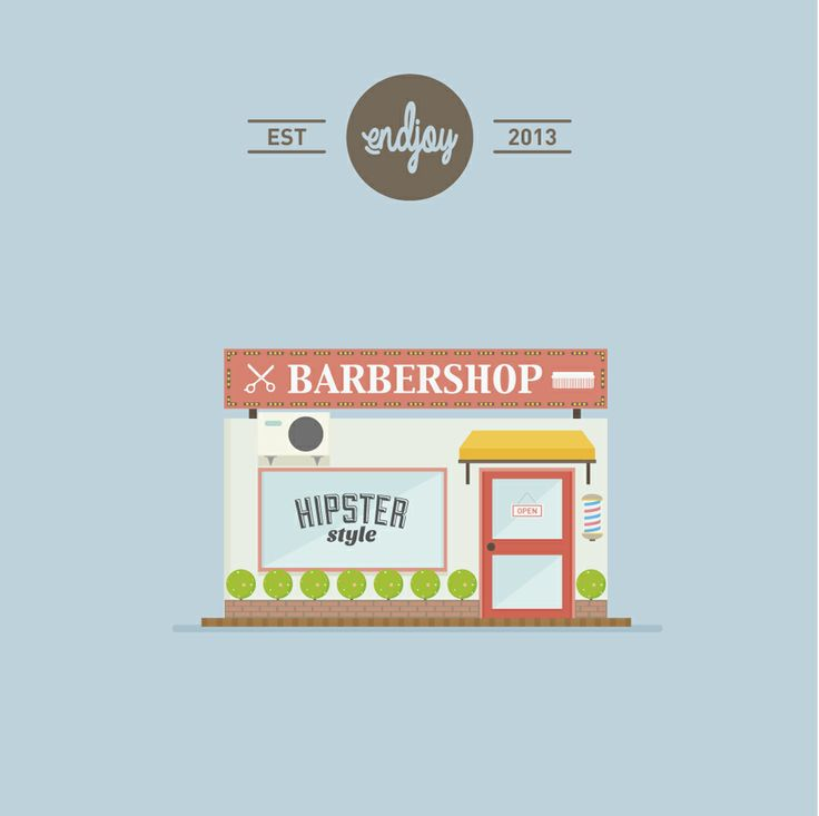Flat Design Barbershop
