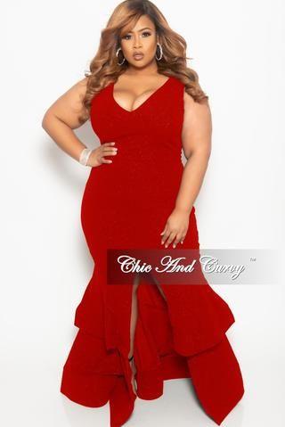 00eead583e60 Final Sale Plus Size Sleeveless Glitter Maxi Dress with Ruffle ...