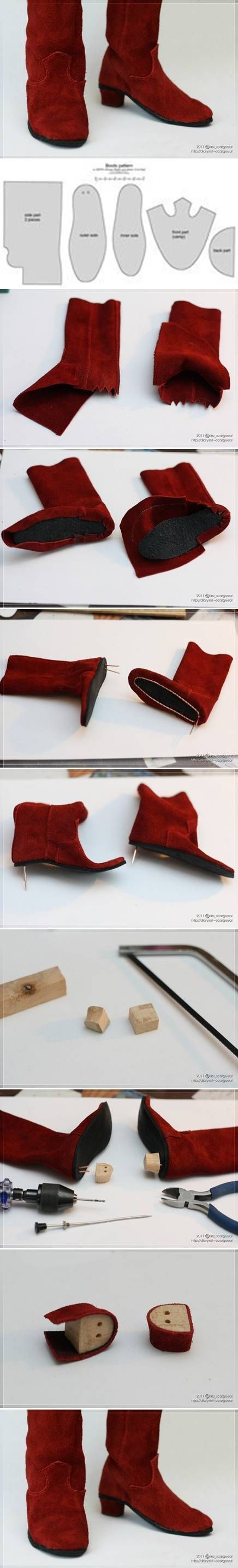 How to make Doll Boot step by step DIY tutorial instructions / How To Instructions
