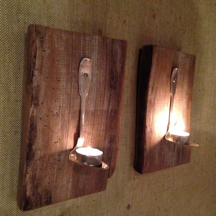 #candleholders #handmade with #spoons and old #wood salvaged from a roof - #design #riciclocreativo #recycle #riciclo #homedecor