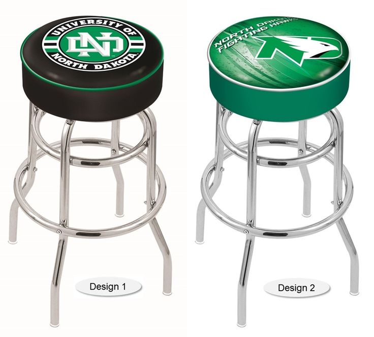 The NCAA officially licensed North Dakota Fighting Hawks Bar Stool has a 4-inch cushion with a tough double-ring base and a chrome finish. Free shipping. Visit sportsfansplus.com for details.