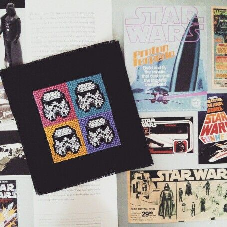 So excited that 2015 is going to be the year of Star Wars! I'm going to make lots of Star Wars stuff throughout the year and this is the first one: Stormtrooper cross stitch in pop art style.