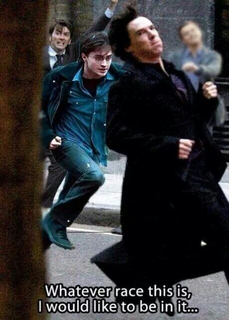 Racing actors Benedict Cumberbatch, Daniel Radcliffe and David Tennant