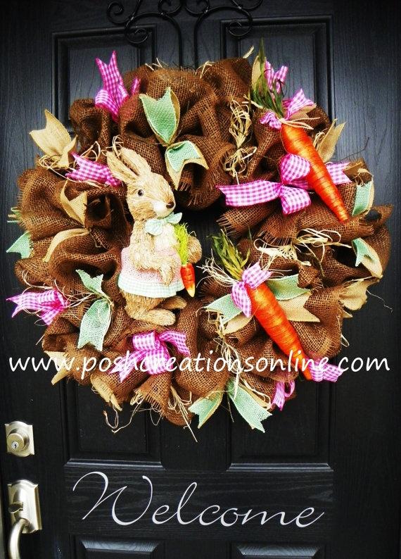 Deco Mesh Wreath Burlap Wreath Easter Burlap by poshcreationsKY, $110.00