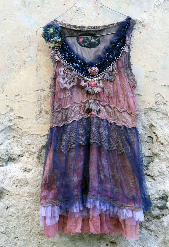 Fairytales inspired romantic faded pink and navy tunic was hand dyed, then reworked with antique laces and vintage trims. Neckline is adorned with