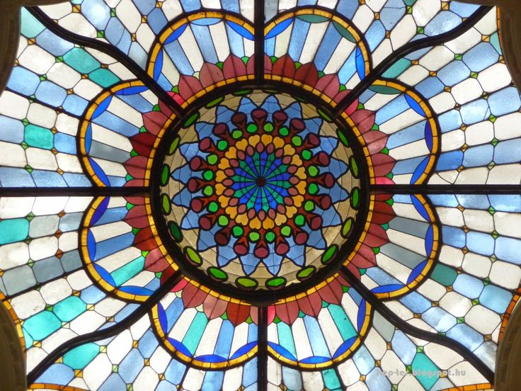 The beautiful stained glass dome of the Museum of Applied Arts.