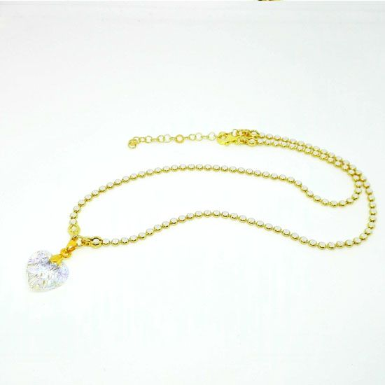 HANDMADE NECKLACE HEART SWAROVSKI GOLD with Luxurious Goldplated Silver Chain with diamond cut laser and Heart of Swarovski Crystal 15mm