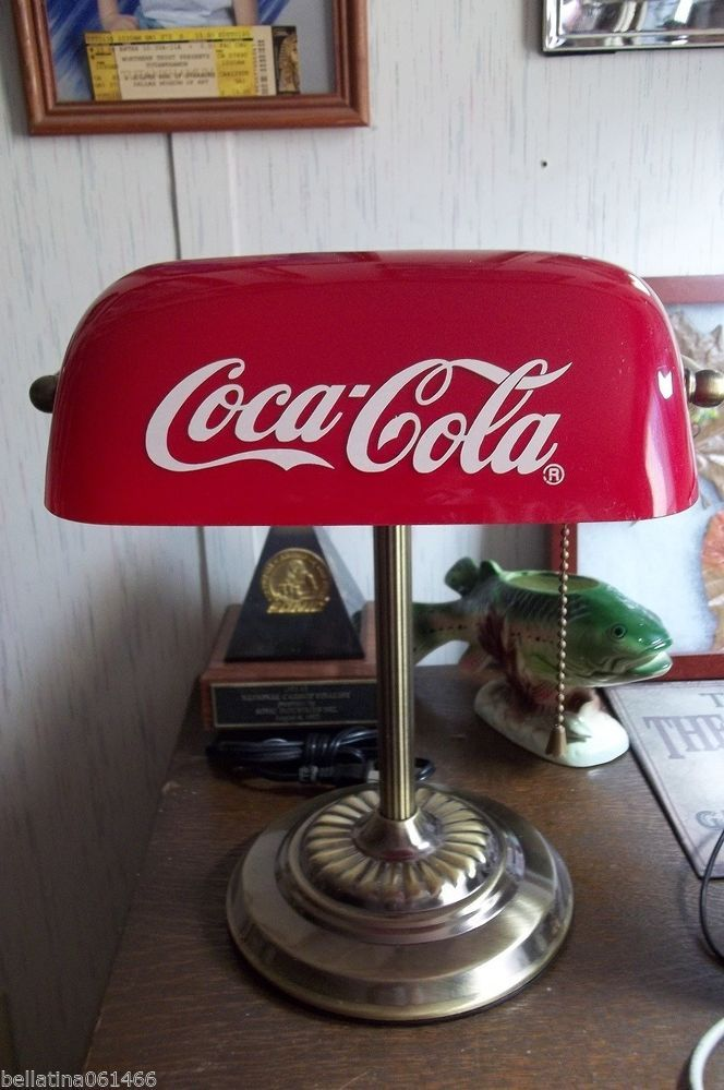 Vintage Coca Cola Bankers Desk Lamp With Gl Shade Light