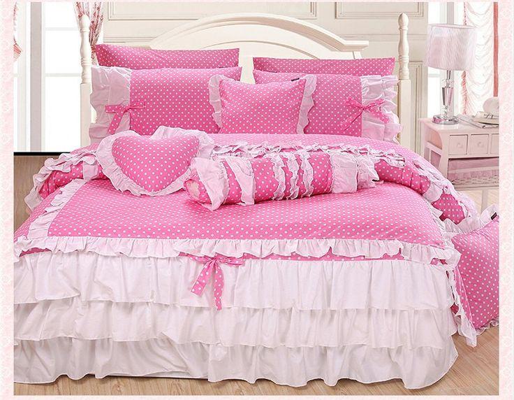 """Купить товарДомашний текстиль симпатичный розовый горошек утешитель комплект элегантный белый кружева Falbala раффлед постельное белье мода принцесса размер постельные принадлежности королева в категории Постельное бельёна AliExpress.     Две (3 шт.):       1 пододеяльник: 59 """"* 79""""       Спальня юбка: 47 """"* 79"""" * 18""""       1 на"""