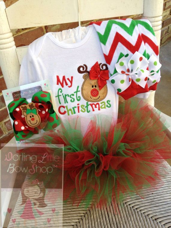 Baby Girl Christmas Tutu Outfit My First by DarlingLittleBowShop
