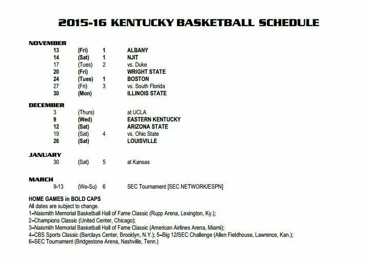 2015-16 KY Basketball Schedule