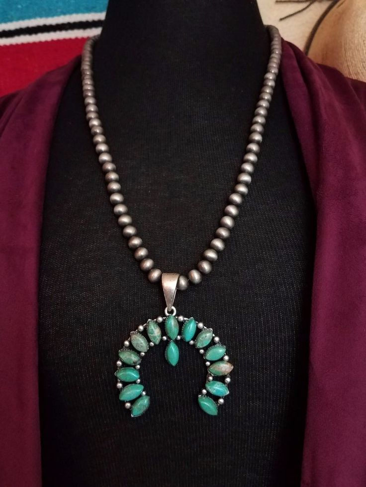 COWGIRL Bling SQUASH BLOSSOM Pewter surge plate beads Southwestern NECKLACE  #baharanch #necklace