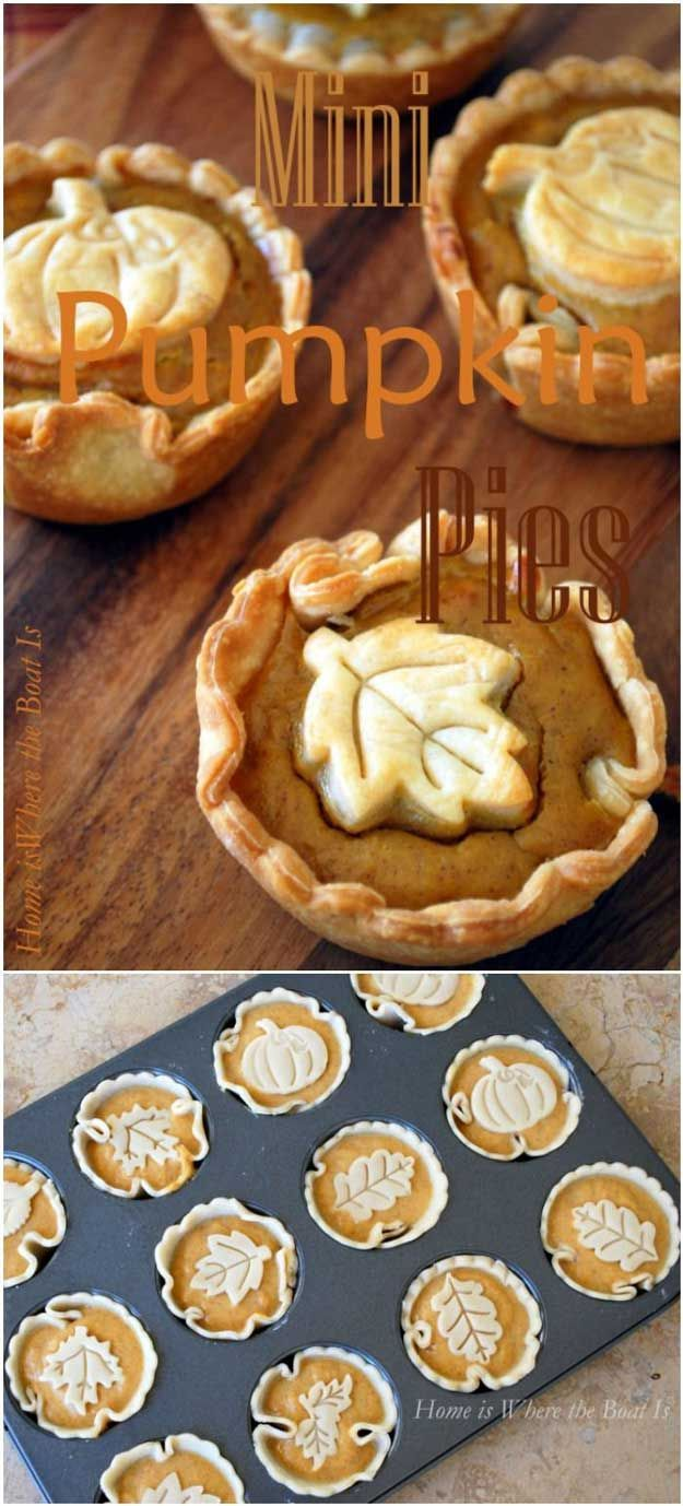 Mini Pumpkin Pies | 16 Most Loved Thanksgiving Pies of All Time - The Perfect Dessert For Thanksgiving by Pioneer Settler at http://pioneersettler.com/best-thanksgiving-pies-time-survey/