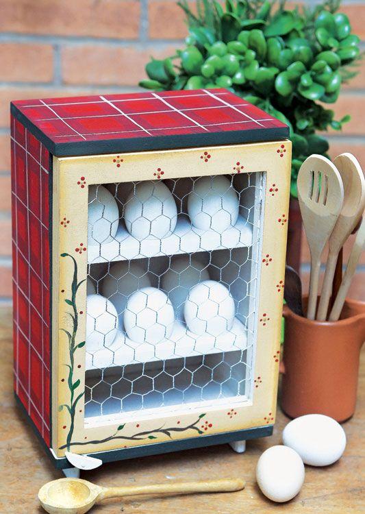 Porta-ovo com pintura country / DIY, craft