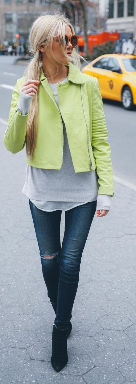 Lime Green Biker Jacket Outfit Idea by Barefoot Blonde pinned by @MissJaneSpring