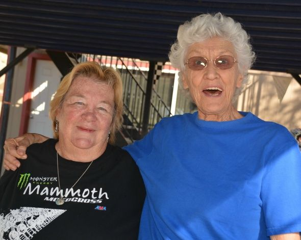 """Gale Webb (left) was excited about this event, and so was Mary McGee (right). A racer from the '60s, Mary knows far more about the origin of motocross than most people. Mary remembers when actor and racer Steve McQueen told her, """"Mary, you should get off that pansy road-racing bike and come out to the desert."""" She replied, """"What – and get dirty?!"""" She did just that and rode a Husky in the Baja 500."""
