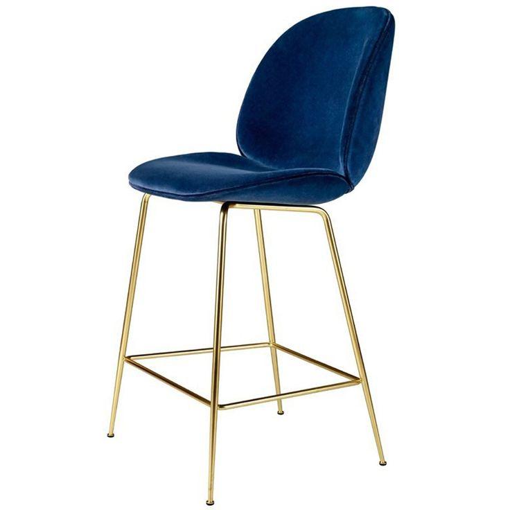 tabouret de bar beetle velours bleu marine pi tement noir gubi interiors exteriors. Black Bedroom Furniture Sets. Home Design Ideas