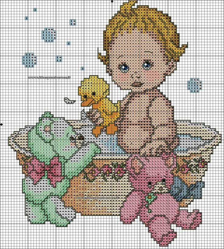 Célèbre 98 best SCHEMI BIMBI images on Pinterest | Cross stitch baby  QP13