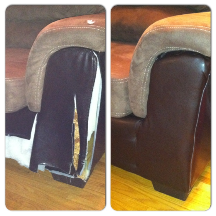Leather Sofa Repair In Newcastle: A Puppy's Destruction.. Quick Upholstery Trick. Get