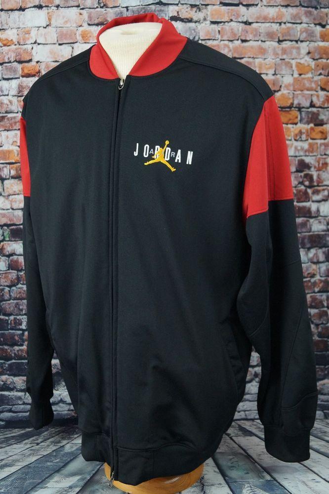 886300e6a7f046 Nike Air Jordan Jumpman Full Zip Flight Jacket Retro VII Logo Black Red L  Large  Nike  BasicJacket