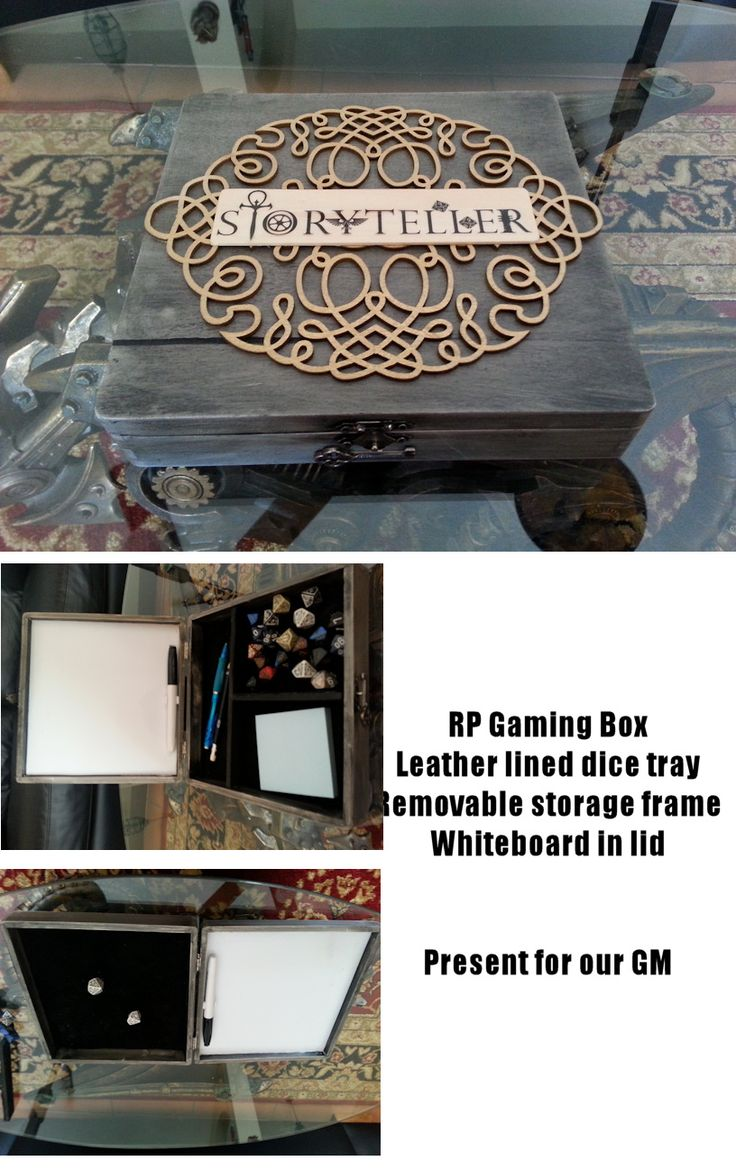 Handmade D&D or RPG dice box. Wood box from Michaels, stained and detailed.  Leather lined dice tray with removable storage frame.  Whiteboard for notes in the lid.  Made for our GM.