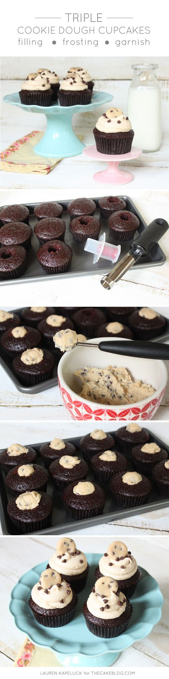 Triple Cookie Dough Cupcakes