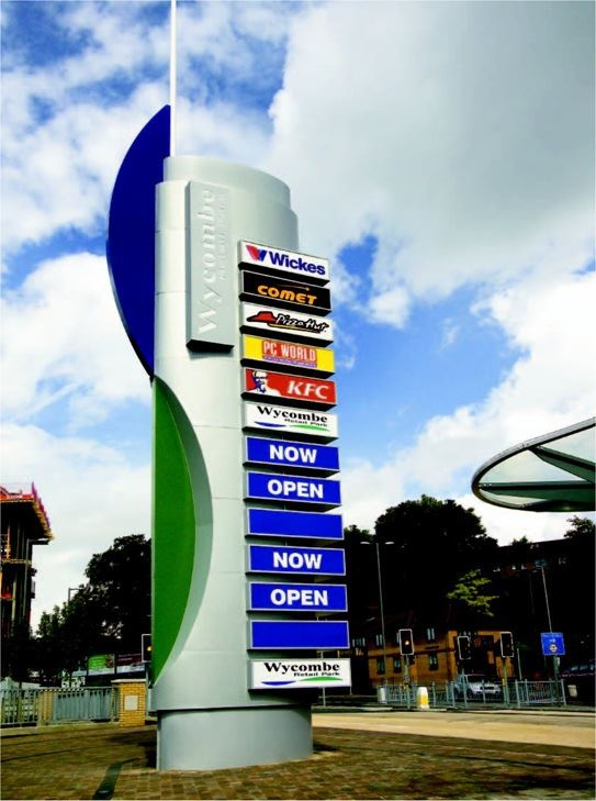 A 14 metres high, internally illuminated totem sign manufactured for Wycombe Retail Park #sign #retailpark #totem #wycombe