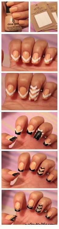 Striped nail tutorial.