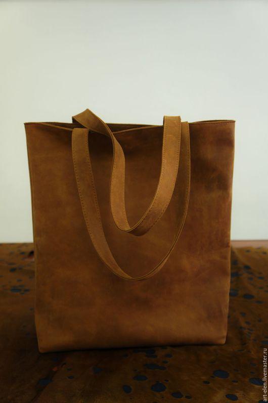 Вестерн, женская сумка, сумка шоппер, сумка большая, сумка пакет, коричневый цвет, рыжий цвет, винтаж, под старину, натуральная кожа.