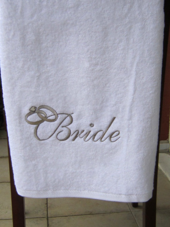 High Quality BRIDE TOWEL SET Wedding Embroidered Face By Letsdecorateonline, $57.20