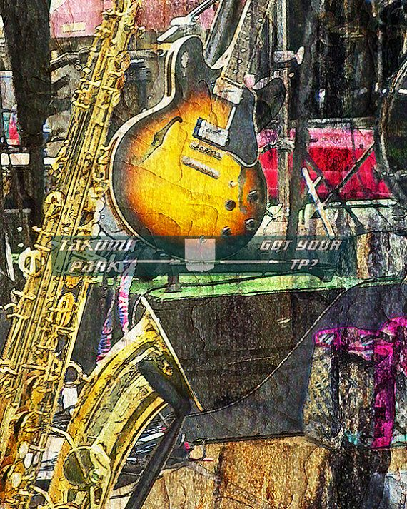 Guitar and saxophone wall art print. By Takumi Park. $15.88