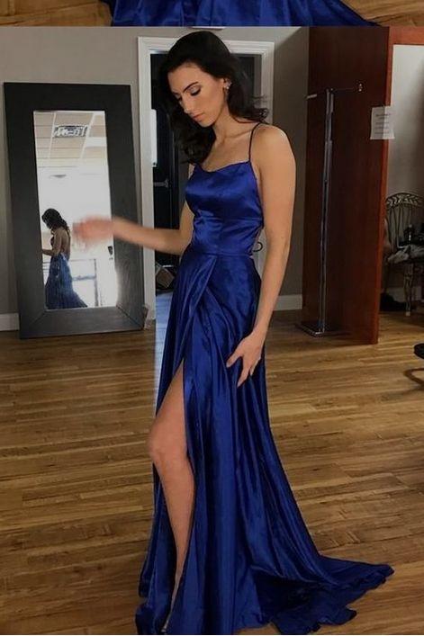 elegant royal blue prom party dresses , fashion