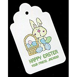 Easter Gift Tags, Bunny with Eggs, Personalized Set of 25