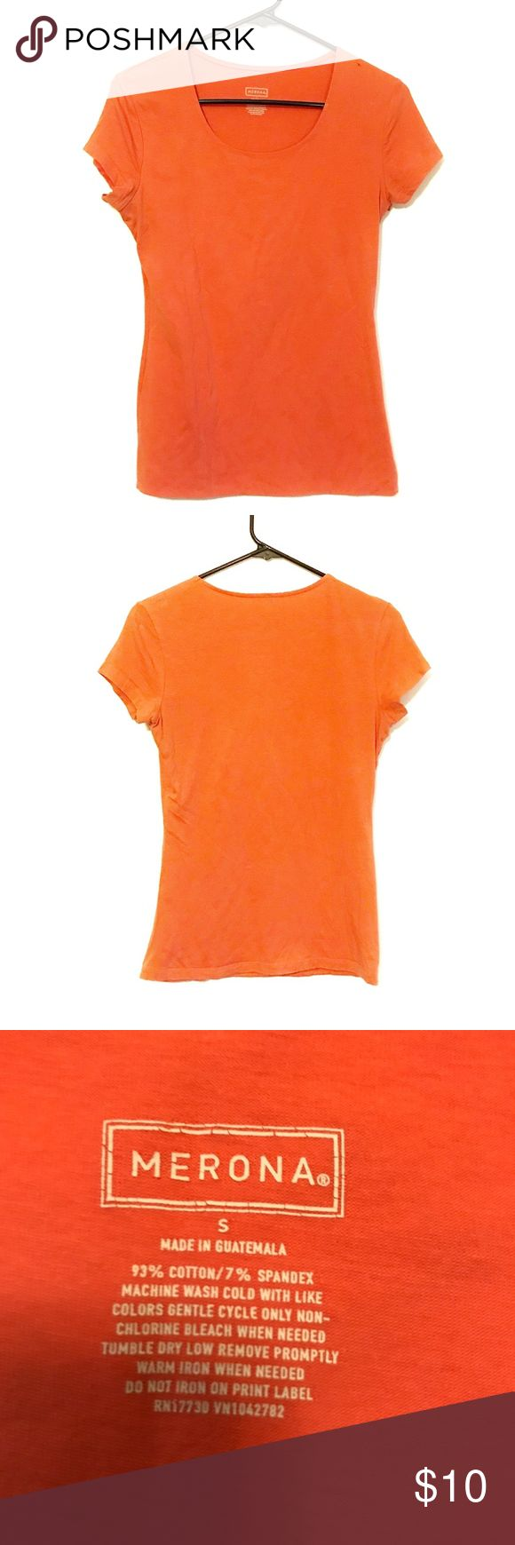 Scoopneck Orange short sleeve tee Like new women's orange Merona scoop neck tee. Size small. Fits really nicely and is very soft on the skin.   Measurements (inches):     ~Bust: 15     ~Shoulder: 15     ~Length: 24.5  *all measurements are taken with the item laying flat*   I am always open to offers.  Bundle your likes for a discount. Merona Tops Tees - Short Sleeve