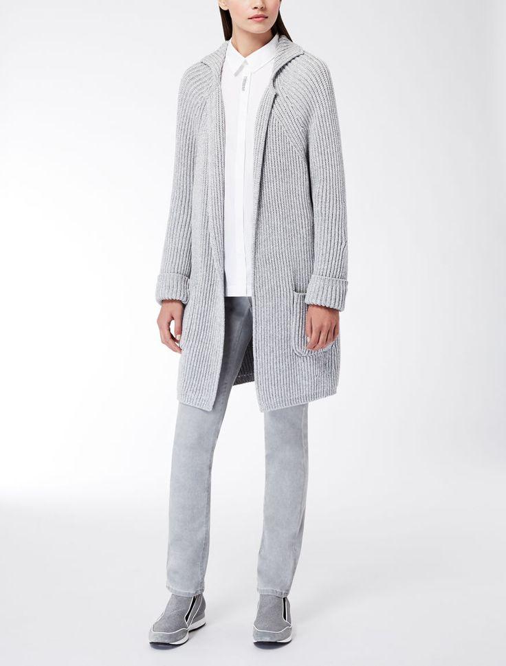 Max Mara ALAGGIO grigio chiaro: Cardigan in maglia di cotone.