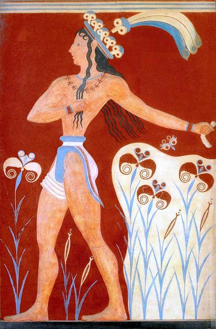 Minoan Priest King Feathered Prince of Lilies Fresco Art Knossos, Crete, Greece