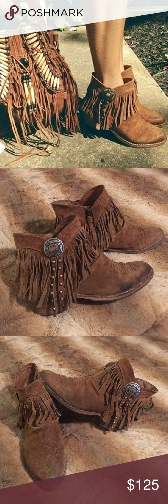 SAM EDELMAN Sidney Fringe Ankle Boots Booties 10 Sam Edelman 'Sidney' distressed whiskey brown sueded leather boots. Top lined with fringe, bronze star conchos and bronze studs on the tassels have been hand painted silver by me. Wooden stacked heels need to be replaced soon. Size 10. These boots are very sought after because they literally go with everything! No trades please  Sam Edelman Shoes Ankle Boots & Booties
