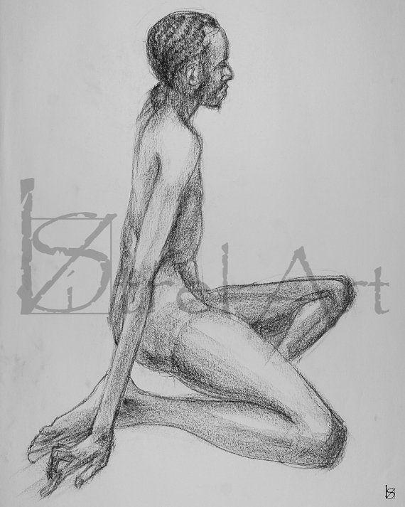 Male nude 3. Digital image of original charcoal life by ArtViStrel