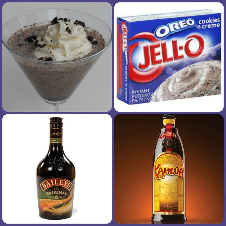 Oreo Mudslide Pudding Shots 1 small Pkg cookies 'n cream instant pudding 3/4 Cup Milk  1/2 Cup Kahlua 1/4 Cup Irish Cream 8oz tub Cool Whip Directions 1. Whisk together the milk, liquor, and instant pudding mix in a bowl until combined. 2. Add cool whip a little at a time with whisk. 3 Spoon the pudding mixture into 1 or 2 ounce cups with lids. Place in freezer for at least 2 hours