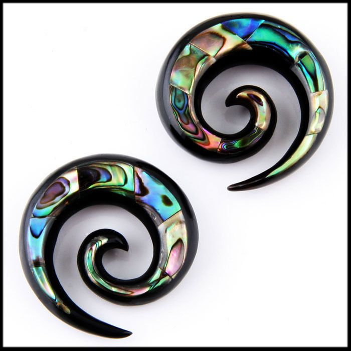 Horn with abalone inlay ear taper spirals -- I would gauge my ears just to wear these!